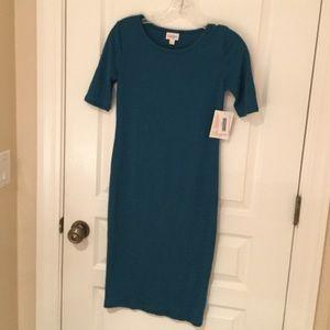 LULAROE Julia Dress Solid Teal NEW XXS
